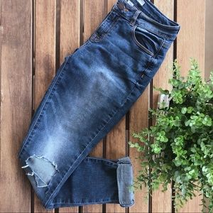 Distressed Fitted Boyfriend Jeans